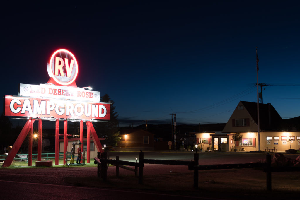 Campground Sign at Night