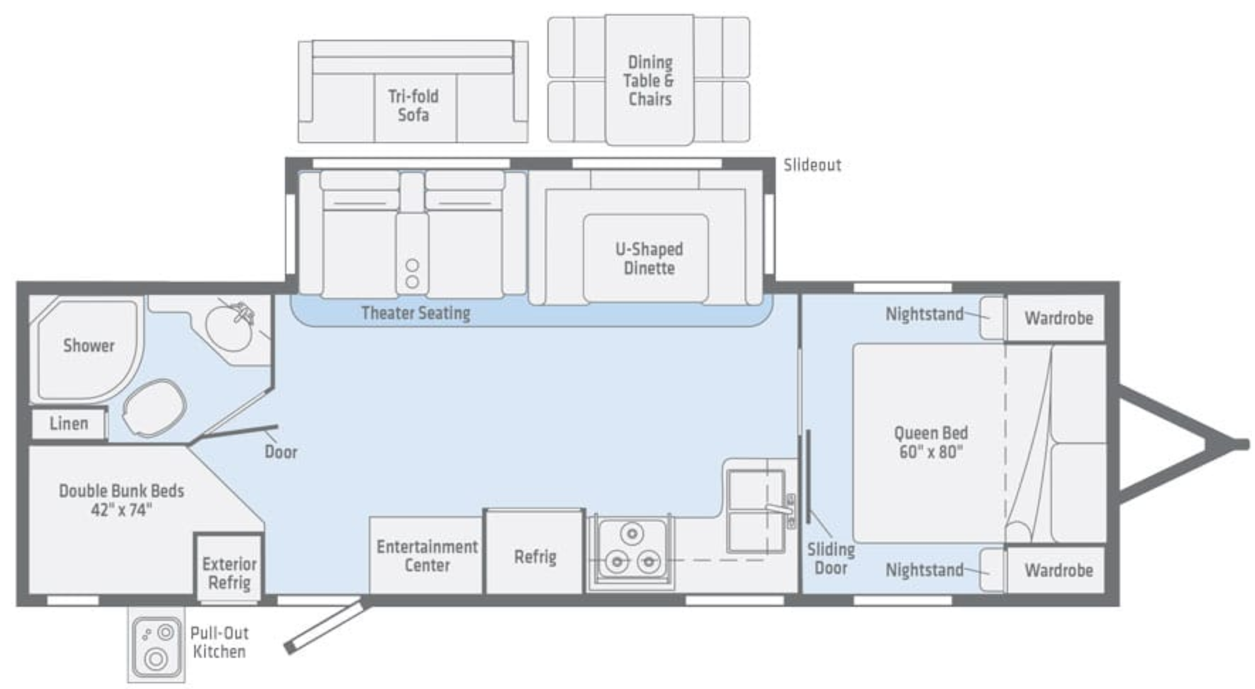 Floor Plan Winnebago Minnie Plus 27BHSS