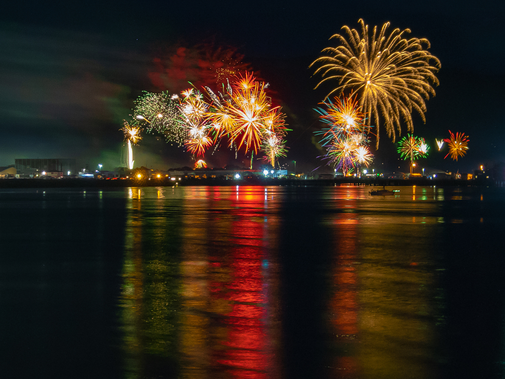 Fireworks Over The Ocean